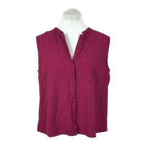 Eileen Fisher Sz P Purple sleeveless button TANK
